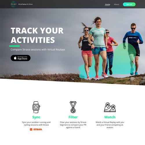 Website design for a fitness tracking app