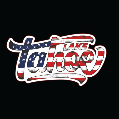 American Flag Themed Sticker Concept for Lake Tahoe, CA