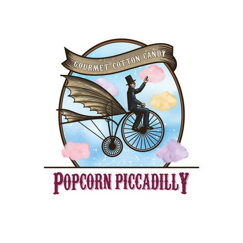 Sticker label illustration for cotton candy