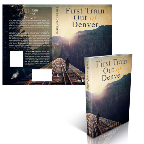 "Create an intelligent, thought provoking cover for my new book, ""First Train Out of Denver"""