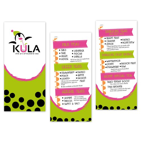 Design a menu for a cool new bubble tea brand!