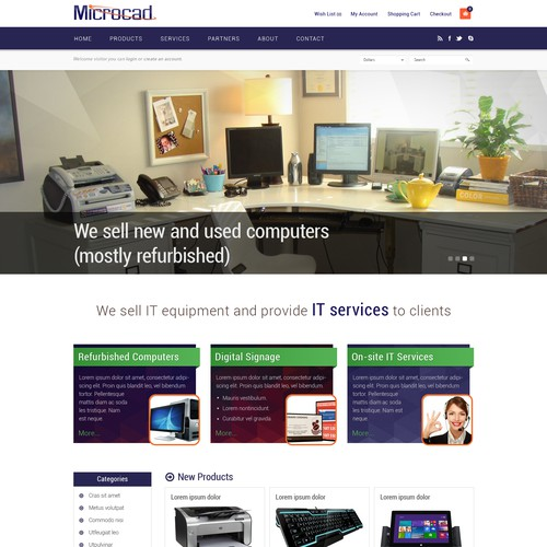 Design the homepage for a top IT Technology company