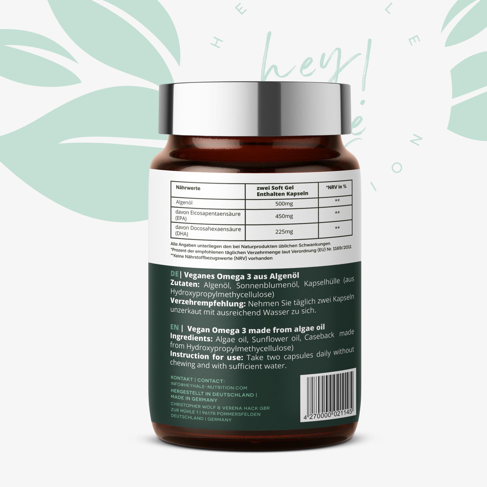 Label for vegan omega 3 for the brand heyhale-nutrition