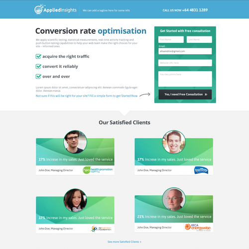 Landing page for a conversion rate company