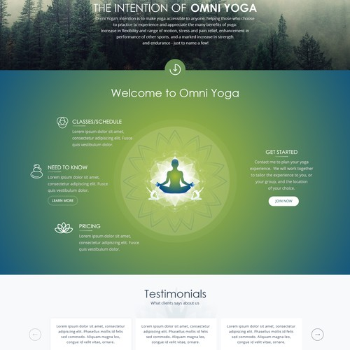 Design version for a Yoga Studio Homepage