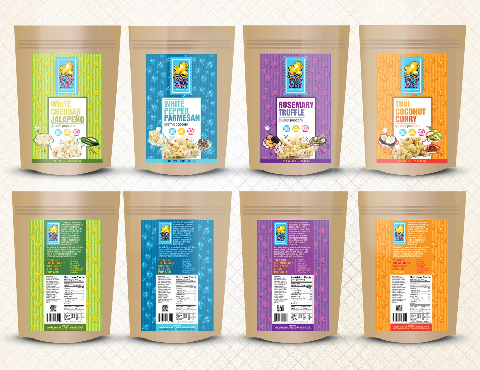 Pop Art Gourmet Popcorn Snacks Needs New Packaging Labels