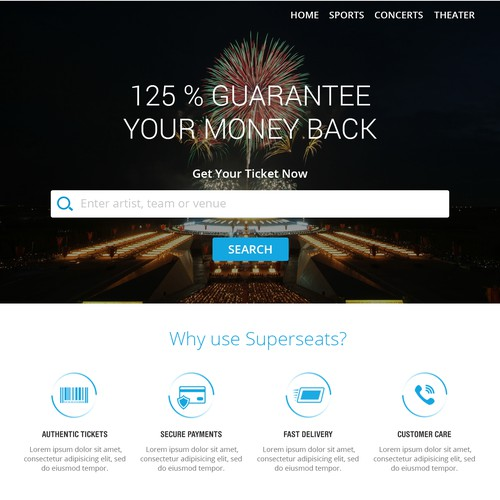 Simple web page design  for Superseats