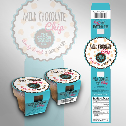 Cardboard sleeve concept for pots of edible cookie dough