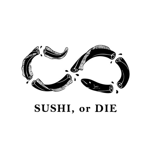 "Edgy tshirt design ""SUSHI, or DIE"""