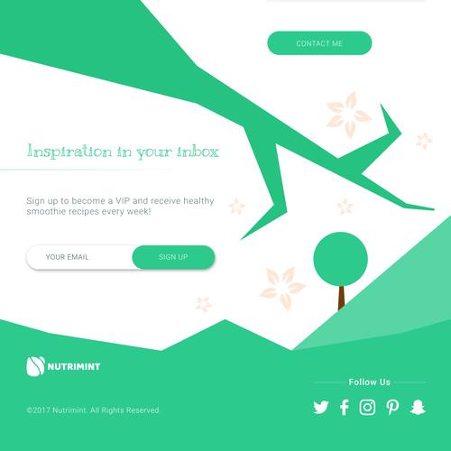 Plants-themed landing page design for nutrimint