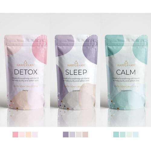 Packaging design for bath soak