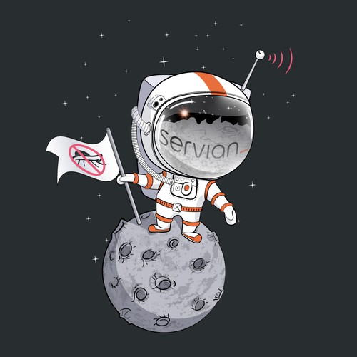 Astronaut on the moon. Stop UFO