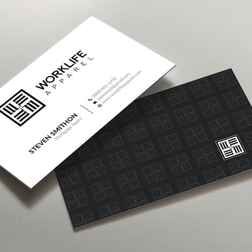 Black with white pattern Business card design