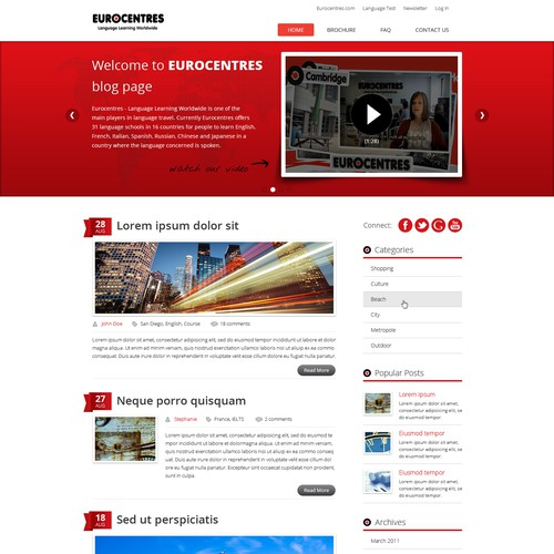 Eurocentres - Language learning worldwide needs a new website design