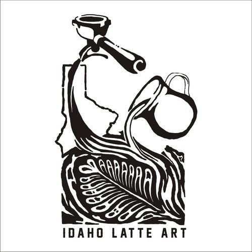 line art latte art design