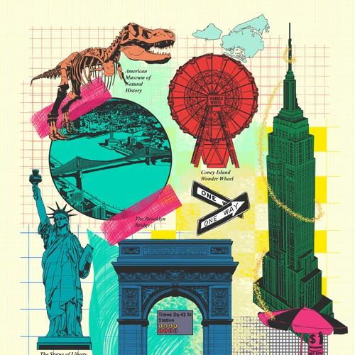 NYC Tourist Attractions Collaged Illustration for Greeting Card