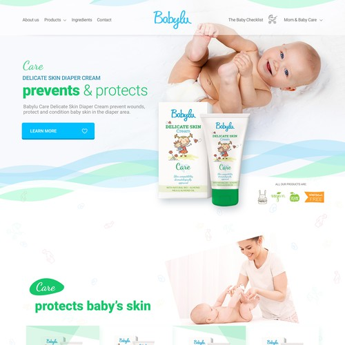 Baby care products frontpage