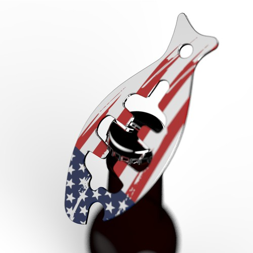 Design a Fish-Shaped Bottle Opener with US Flag