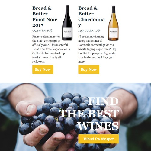 Email template for a Wine Shop