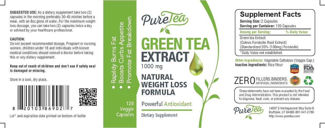 "PureTea needs a ""beautiful label"" for our Green Tea Extract bottle."