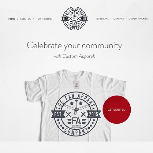 Simple Home page for fanapparel.co