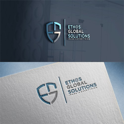 Simple and modern logo for ETHOS GLOBAL SOLUTIONS