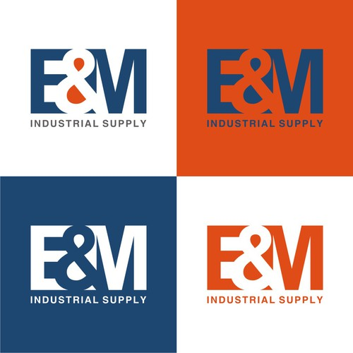 E & M Industrial Supply logo design