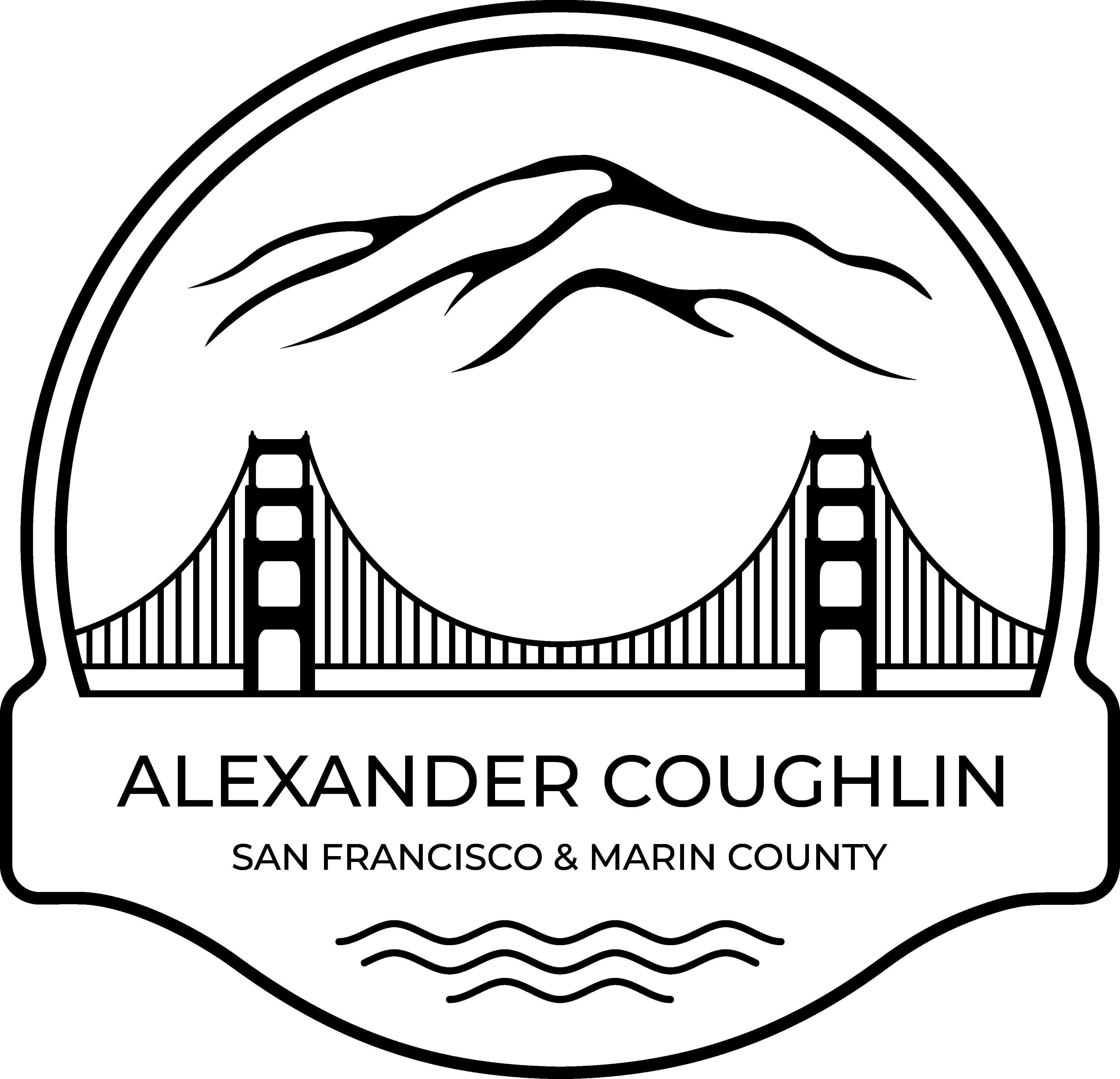 Luxury Real Estate Logo Showcasing Golden Gate Bridge and Mt. Tamalpais