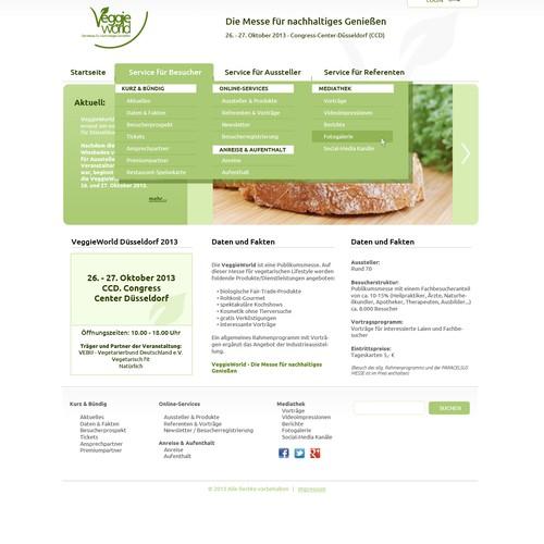 Awesome web design needed: VeggieWorld - Die Messe für nachhaltiges Genießen (fair for fair food trade)