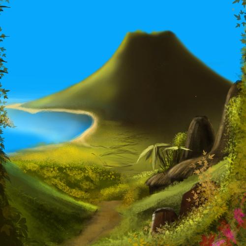 path to a distant vulcano