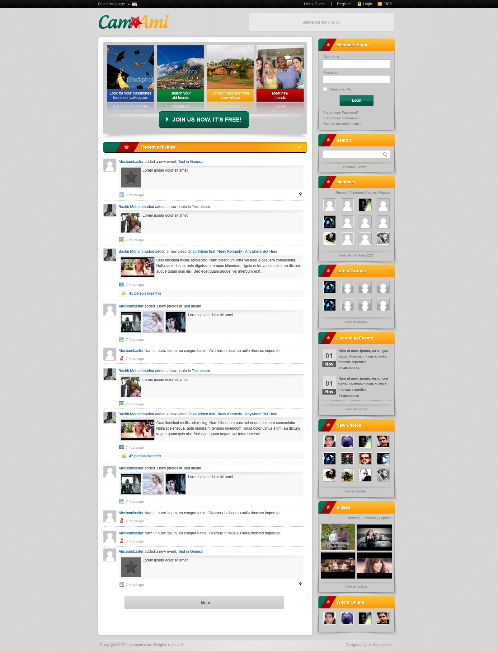 Create the next website design for CamAmi