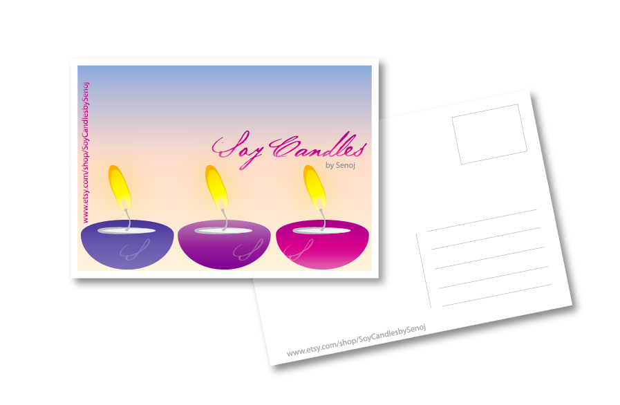 Soy Candles by Senoj needs a new postcard or flyer