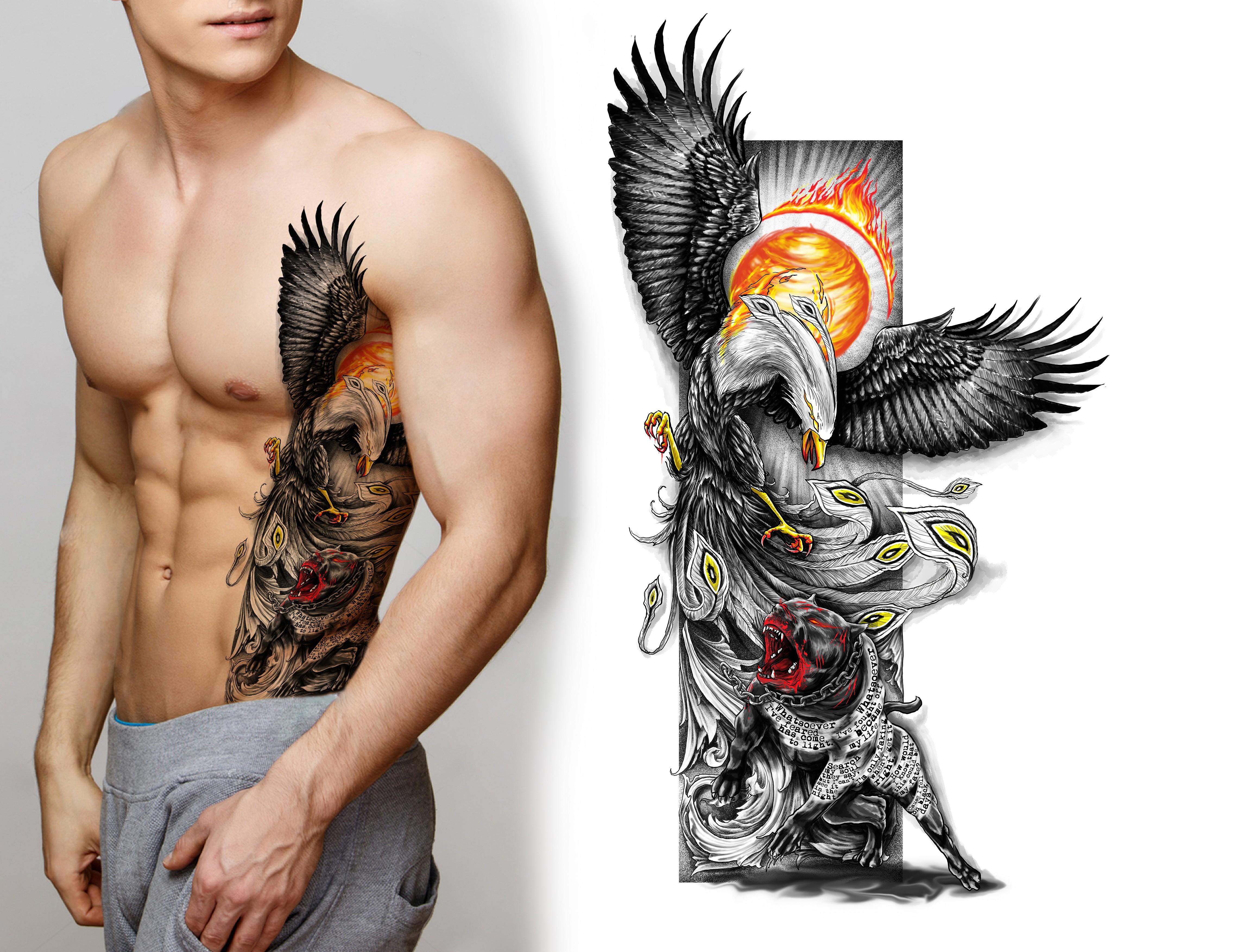Black dog (pitbull) into a rising phoenix