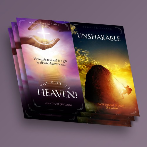 Heaven and Unshakable sign for two summer sermon series.