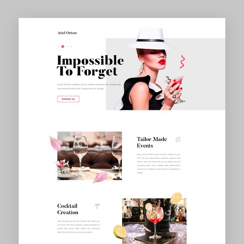 Main page concept for Cocktail Curation Events