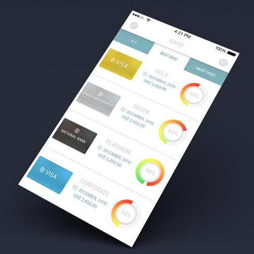 Create a clean, modern iPhone App UI for Kards