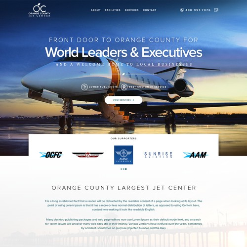 Landing Page design for Orage County Airport