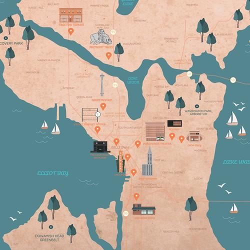 Seattle map illustration