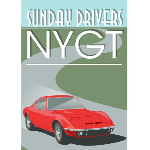 Vintage car poster & logo