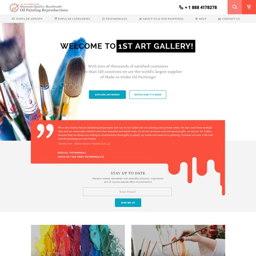 Homepage for online art gallery