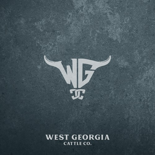 combination between classic and modern monogram logo concept for West Georgia Cattle Co.
