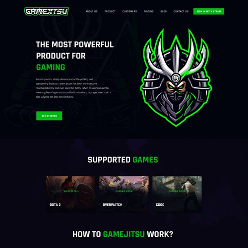 Game website landing page design