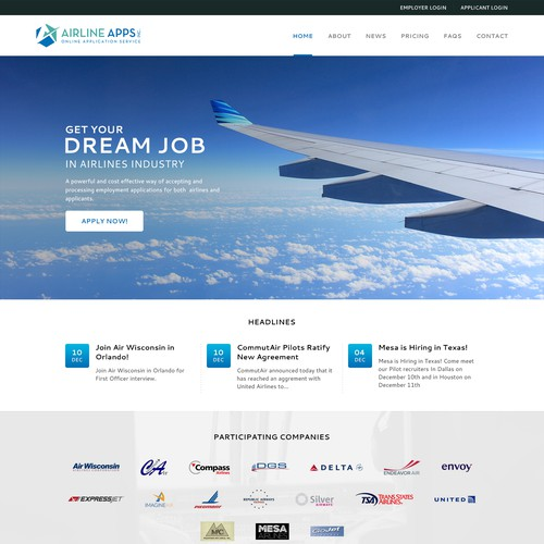 Home Page for Airline Apps