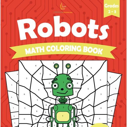 Robots coloring math book concept