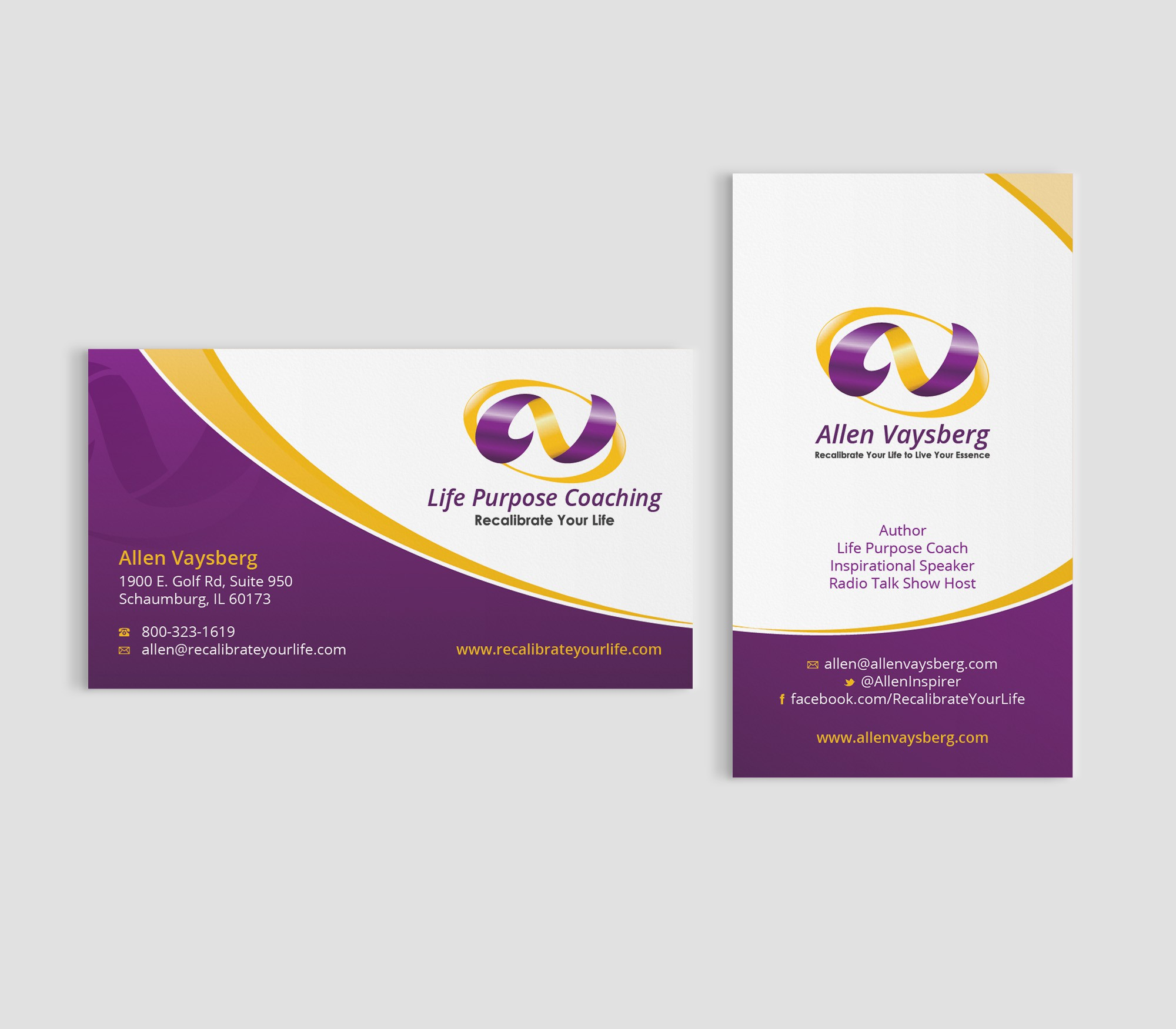 "Help ""Recalibrate Your Life"" with a new business card"