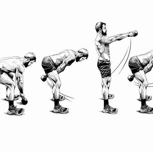 Comic Style Unconventional Workout Illustrations