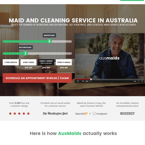 Modern, Startup Website for AusMaids!