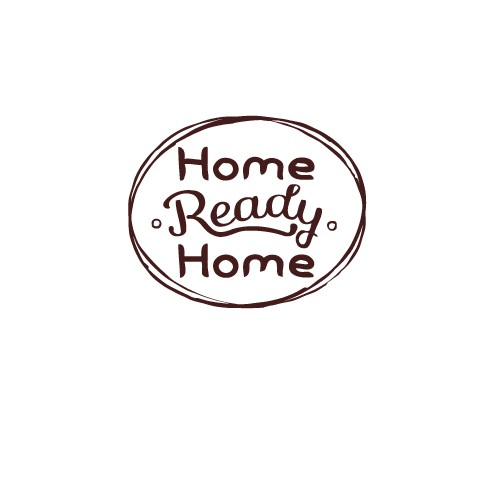 "Logo for blog (Home Ready Home) that resembles a vintage ""home sweet home"" sign"