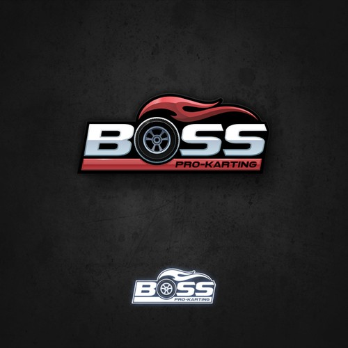 Create aggressive, profess'l logo for an Indoor Kart facility. BONUS: business/family name is Boss!