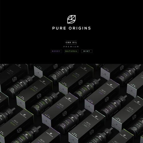 Pure Origins CBD OIL Packaging and Label Design